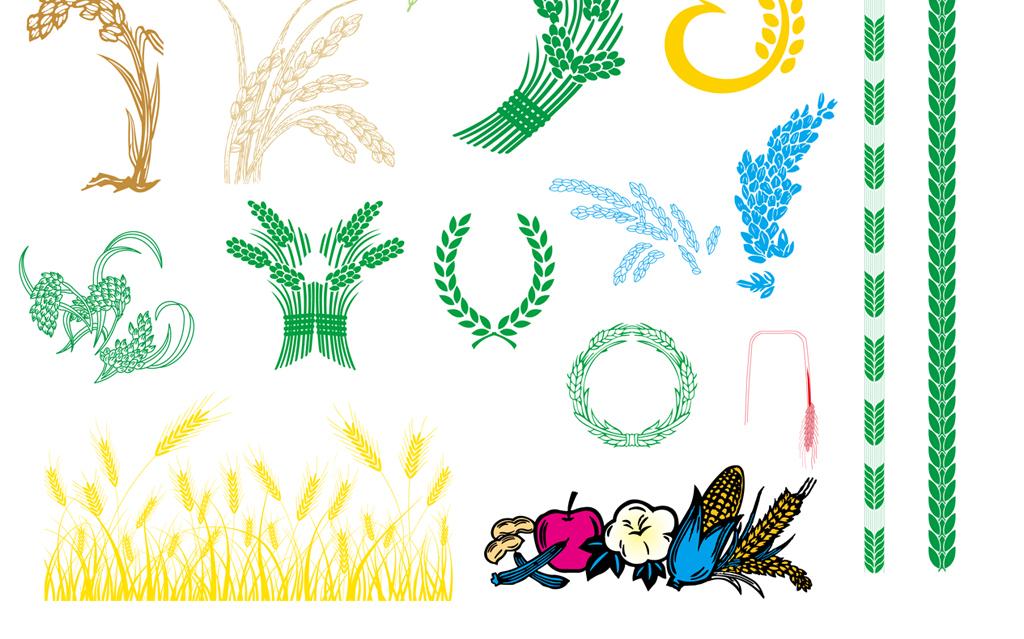 矢量卡通农民伯伯农作物庄稼水稻谷麦穗素材图片