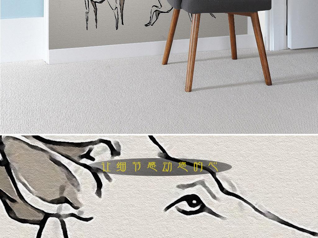 麋鹿的姿态北欧简约手绘简笔画黑白装饰画