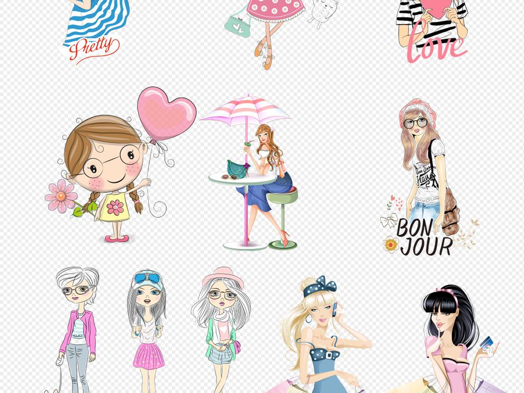卡通手绘女孩彩绘人物背影文艺素材