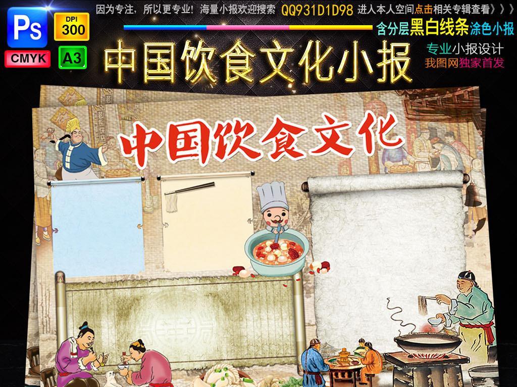 手抄报|小报 其他 其他 > 中华美食小报厨师厨艺传统文化手抄小报素材图片
