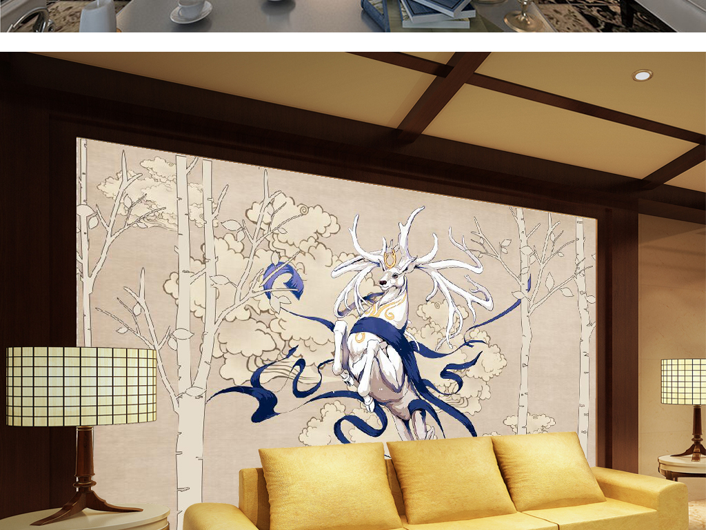 x新中式手绘森林梅花鹿电视背景墙