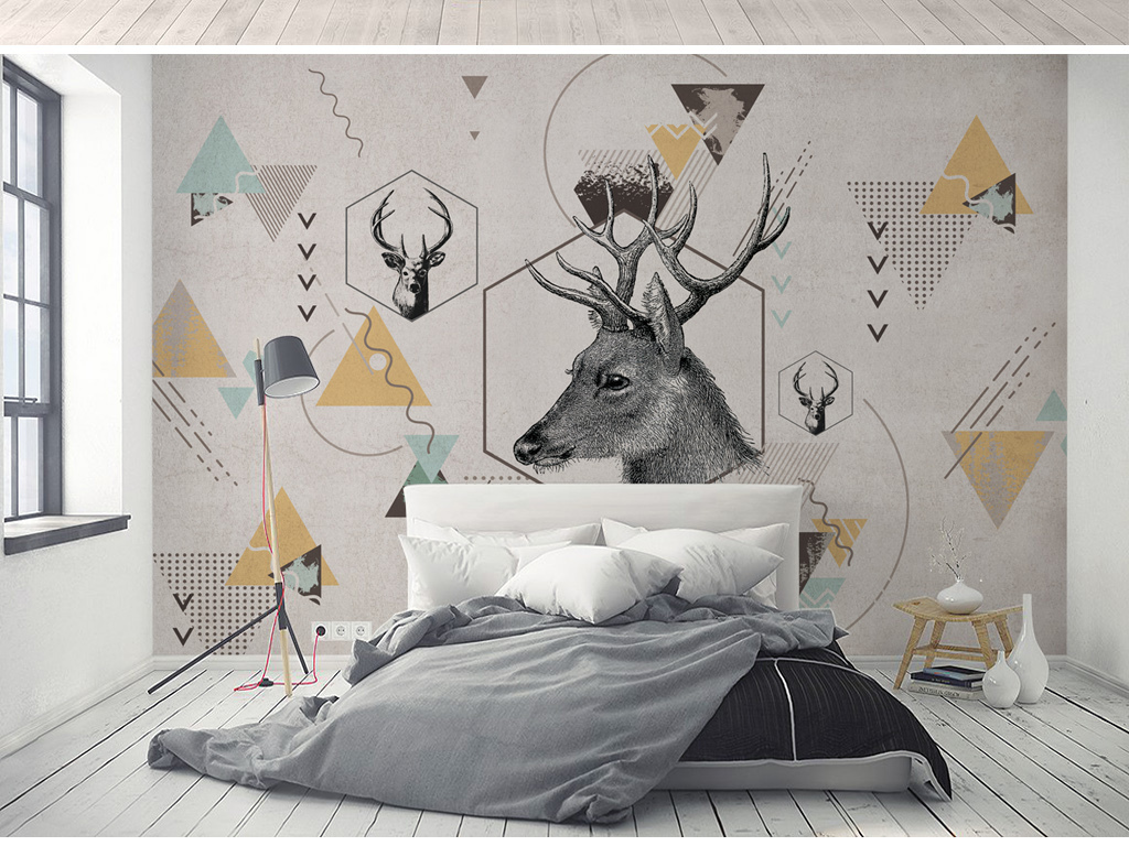 北欧现代简约个性几何麋鹿电视背景墙壁纸壁画图片_(.图片