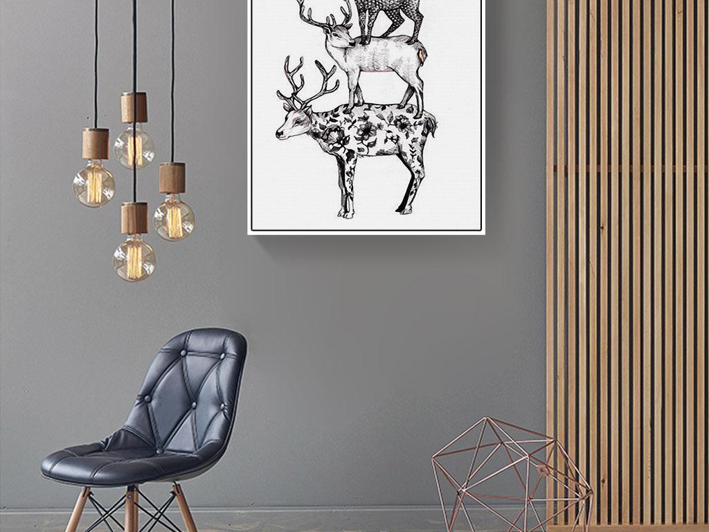 三只麋鹿叠罗汉北欧手绘黑白欧式欧美装饰画