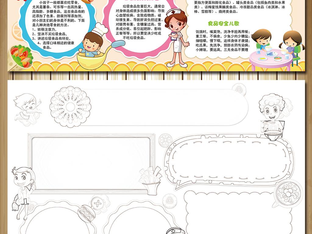 健康饮食儿童食品安全小报手抄报模板图片下载psd素材 校园安全手抄图片