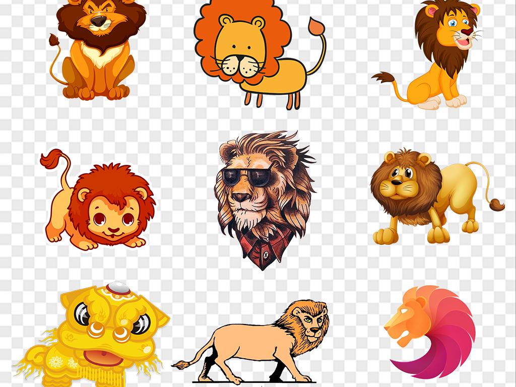 卡通狮子动物png元素