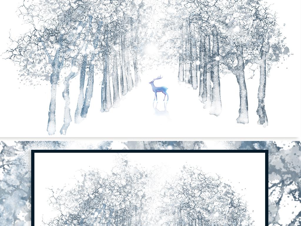 北欧风小清新手绘唯美树林麋鹿背景墙图片设计素材_(.