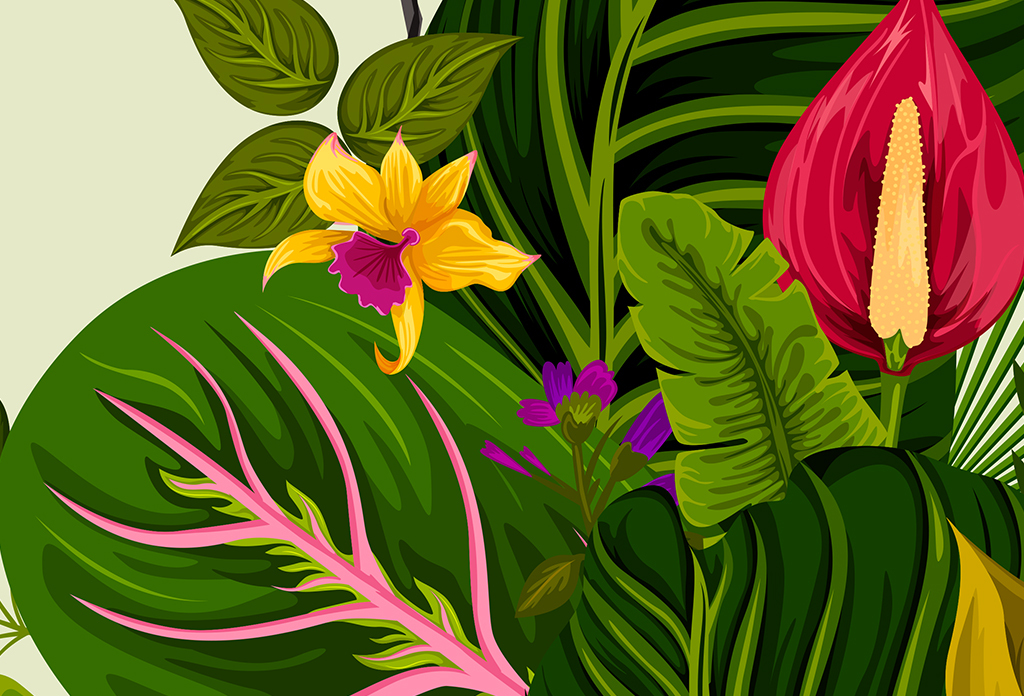 北欧简约热带植物花火烈鸟儿童房背景墙壁画