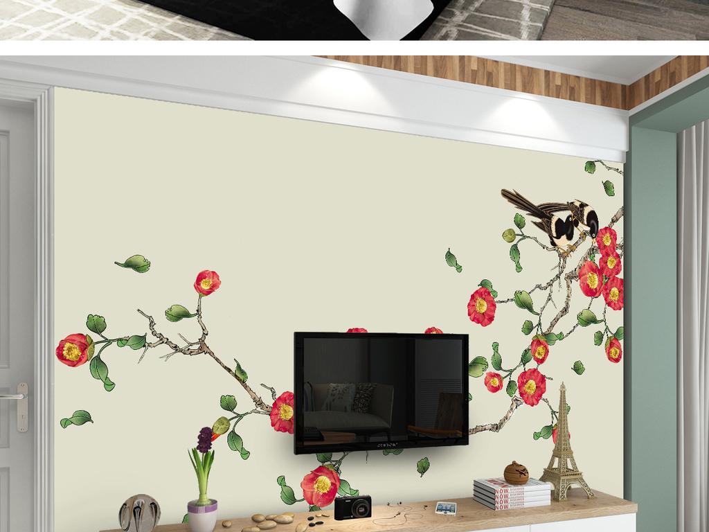 茶花新中式手绘工笔花鸟背景墙装饰画图片