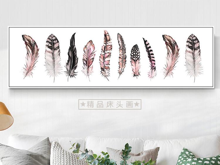 现代简约北欧新中式清新手绘羽毛装饰画