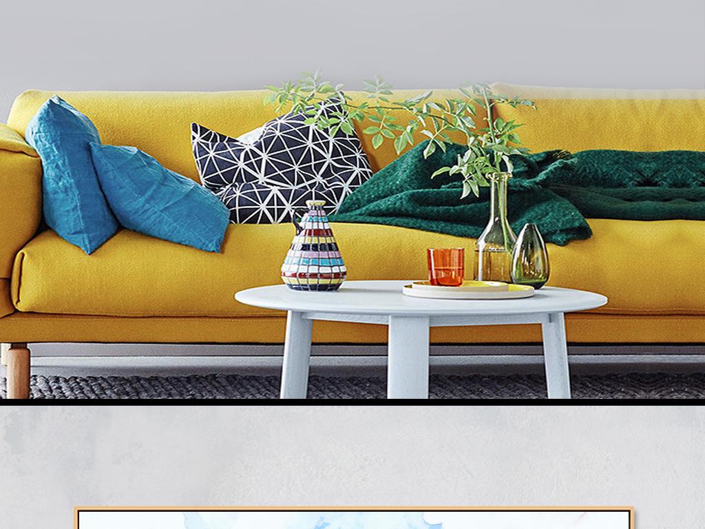 现代水彩手绘风景建筑床头画客厅装饰画