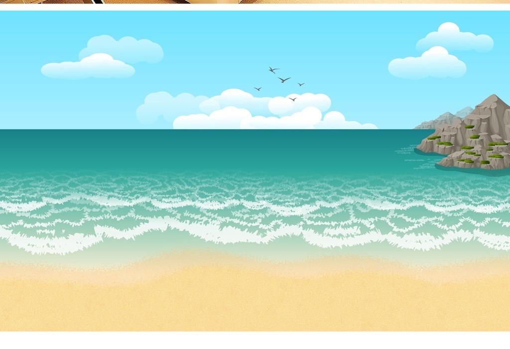 卡通海滩3d