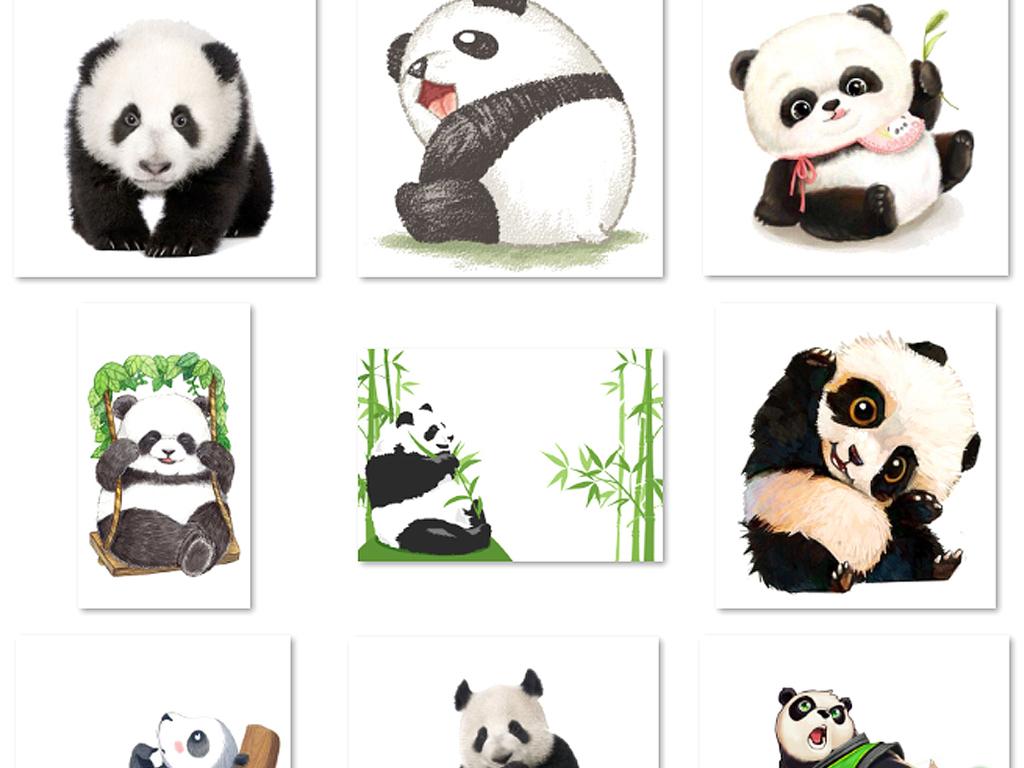 免抠元素 花纹边框 中国风边框 > 卡通可爱熊猫竹子国宝图片素材