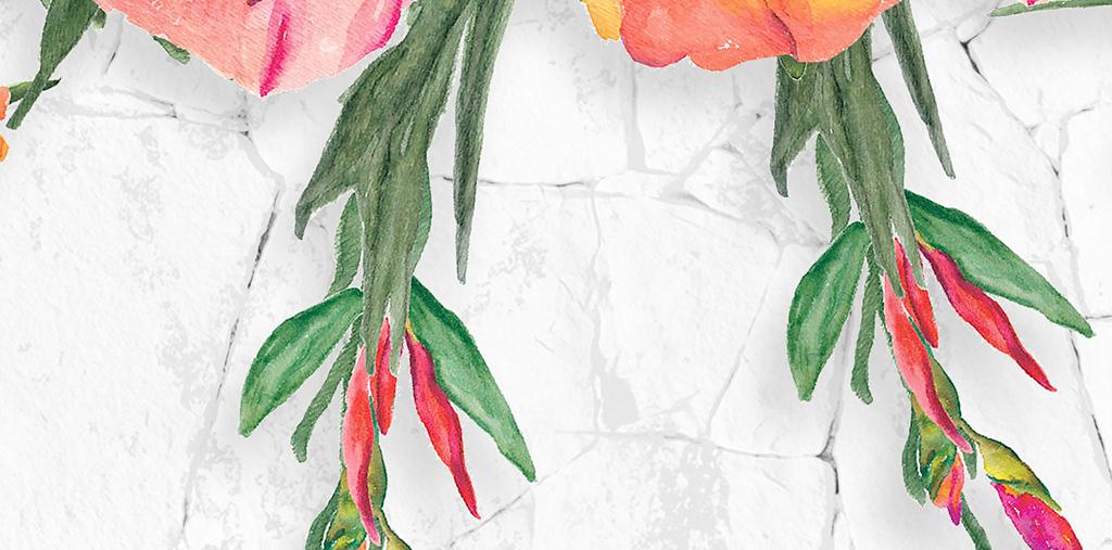 手绘墙头花卉北欧背景墙