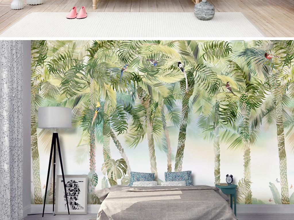 现代欧式手绘椰树花鸟龟背竹墙纸壁画背景墙图片