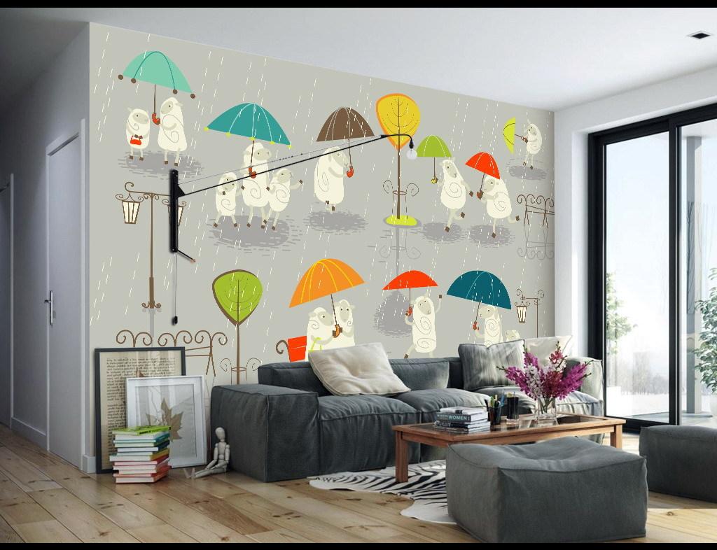 小雨绵羊手绘卡通儿童房背景墙壁画图片设计素材_高清