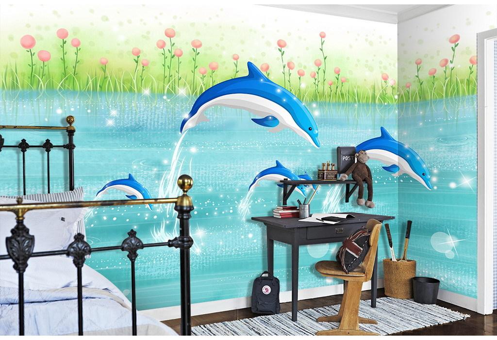 海豚手绘漫画儿童房背景墙壁画
