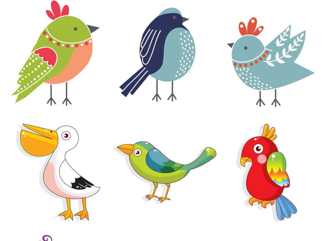 多款水彩手绘鸟类小鸟麻雀鹦鹉仙鹤矢量图