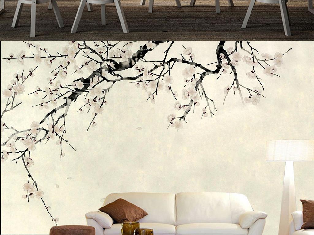 手绘白梅壁画背景墙
