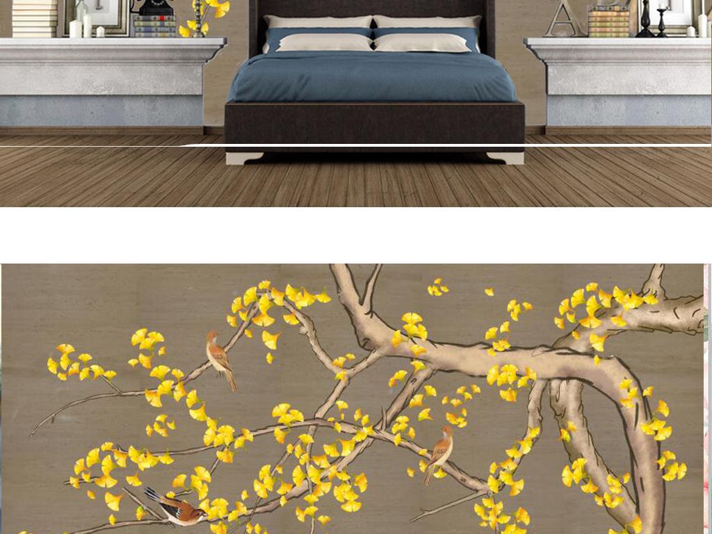 新中式手绘银杏树电视背景墙