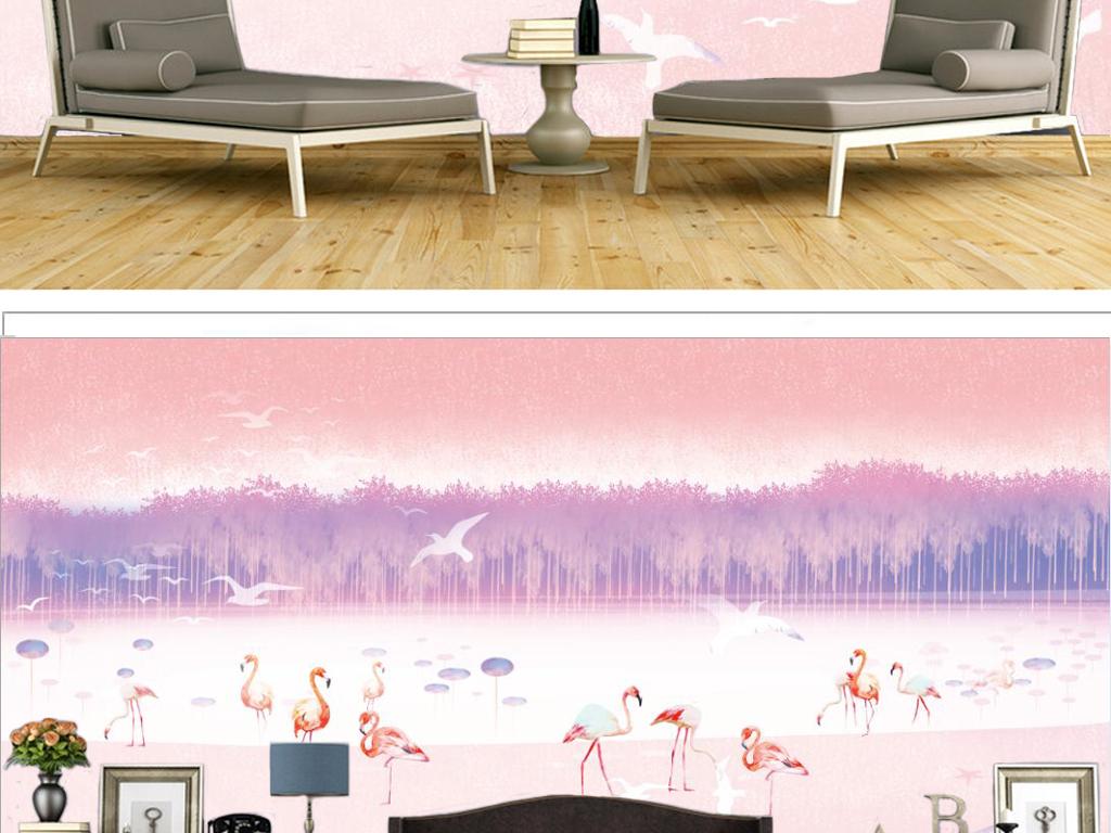 手绘浪漫粉色火烈鸟儿童房背景墙