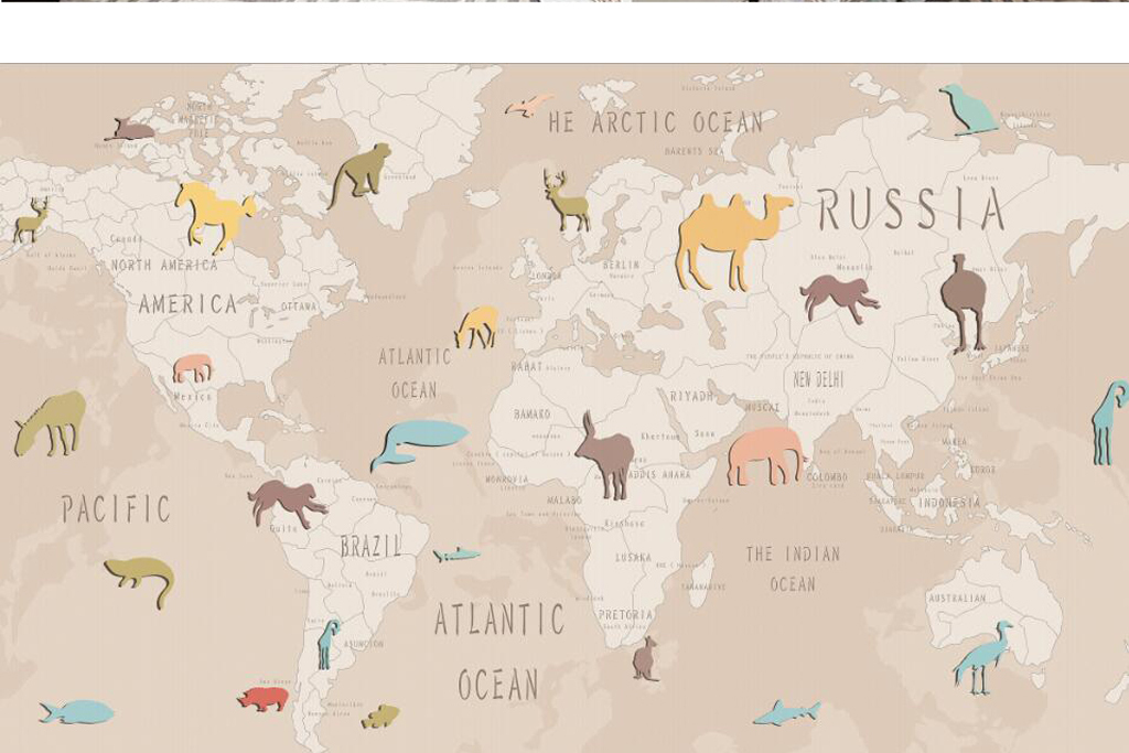 手绘卡通动物世界地图儿童房背景墙