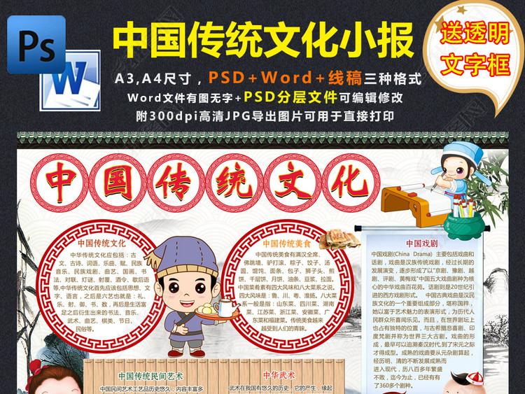 弘扬中华传统文化小报国学经典手抄小报素材word模板
