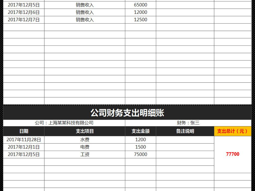 出纳日常流水账表格_excel表格 财务预算 记账表 > 公司财务收入支出记账表流水账明细