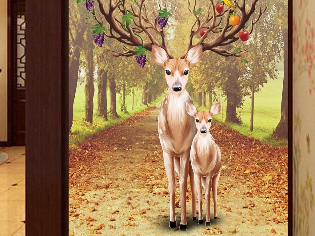 原创高清手绘工笔花鸟麋鹿高端玄关壁画