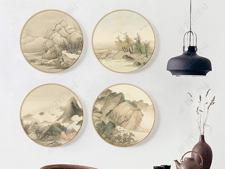 新中式水墨禅意山水复古风景装饰画