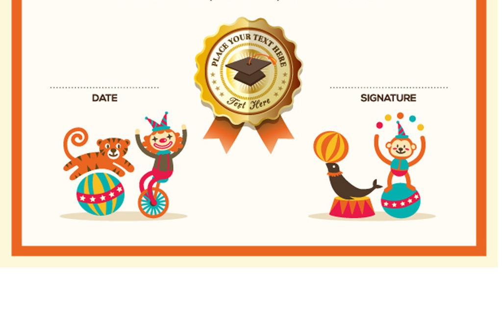 学校小学学生卡通奖状可爱荣誉证书模板图片素材_ai()图片