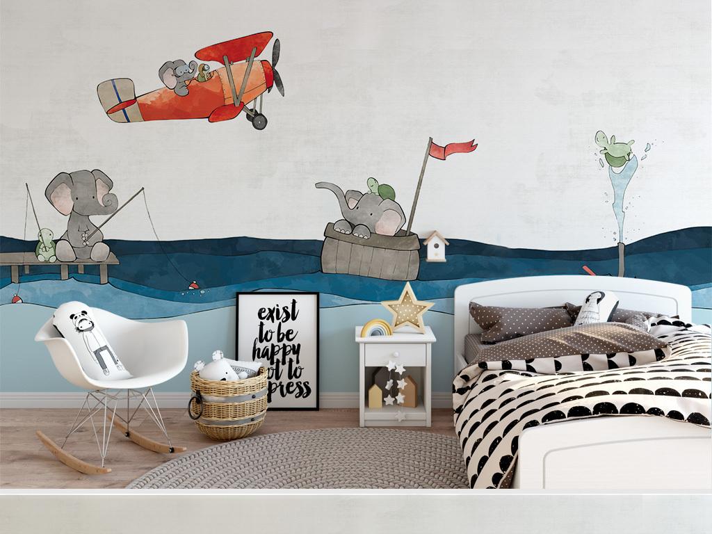 北欧创意手绘海洋大象小龟童房背景墙