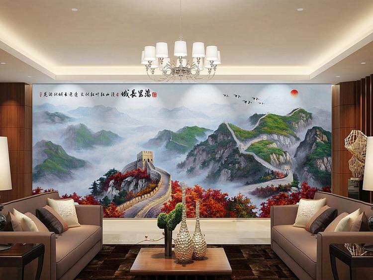 万里长城现代油画江山如此多娇山水背景墙