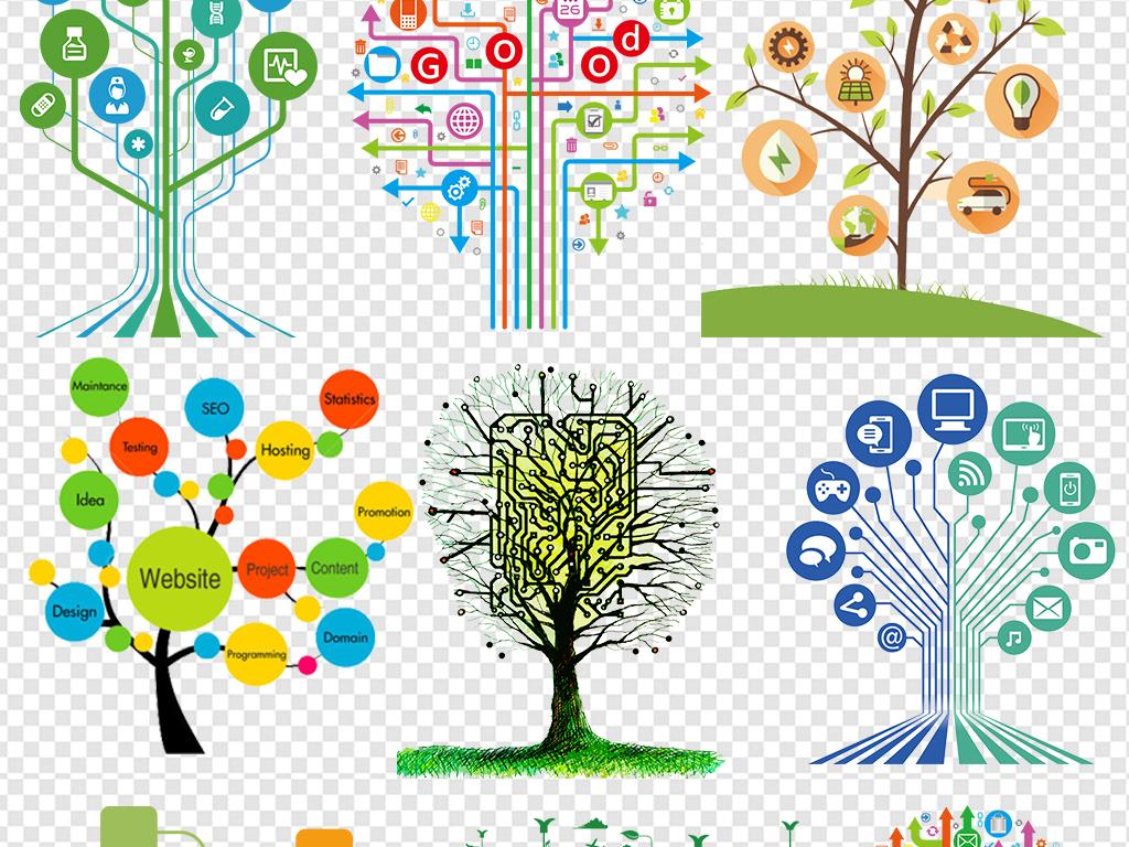 ppt树状图大树目录序列几何科技感素材图片