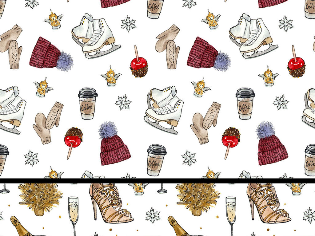 手绘水彩冬季生活用品设计素材