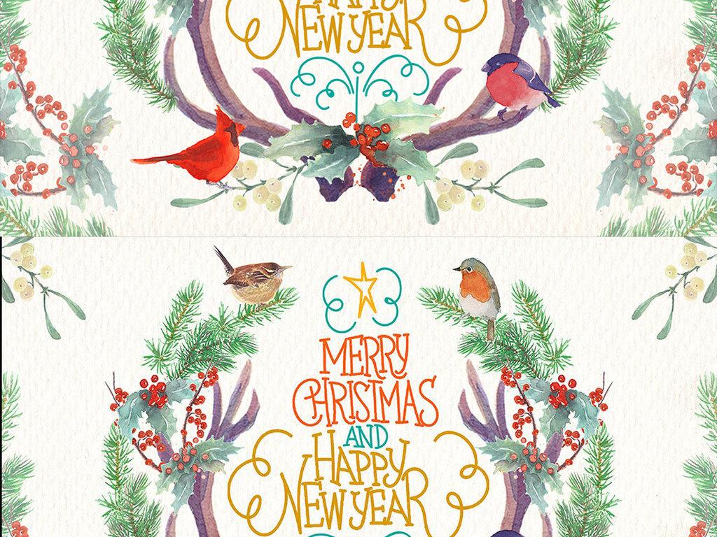 手绘水彩圣诞装饰图案图片素材_psd模板下载(118.42mb