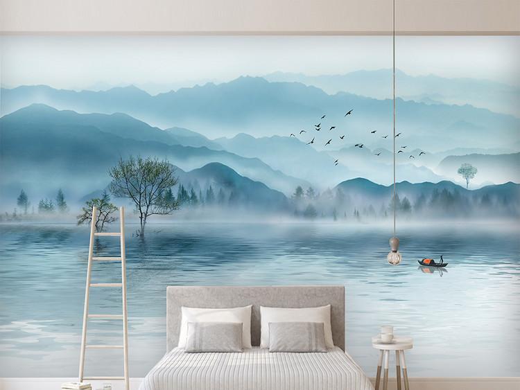 奢华大气意境水墨山水新中式电视沙发背景墙