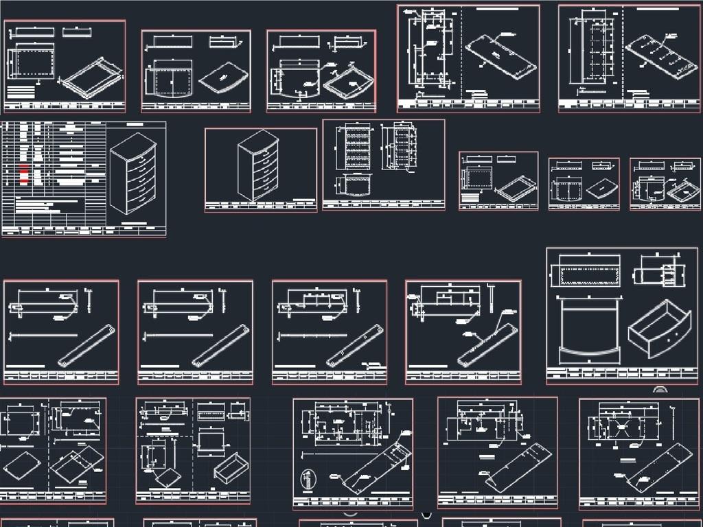 cad图库 全屋定制cad图纸 柜子图纸 > 家具工艺结构图cad图  素材图片