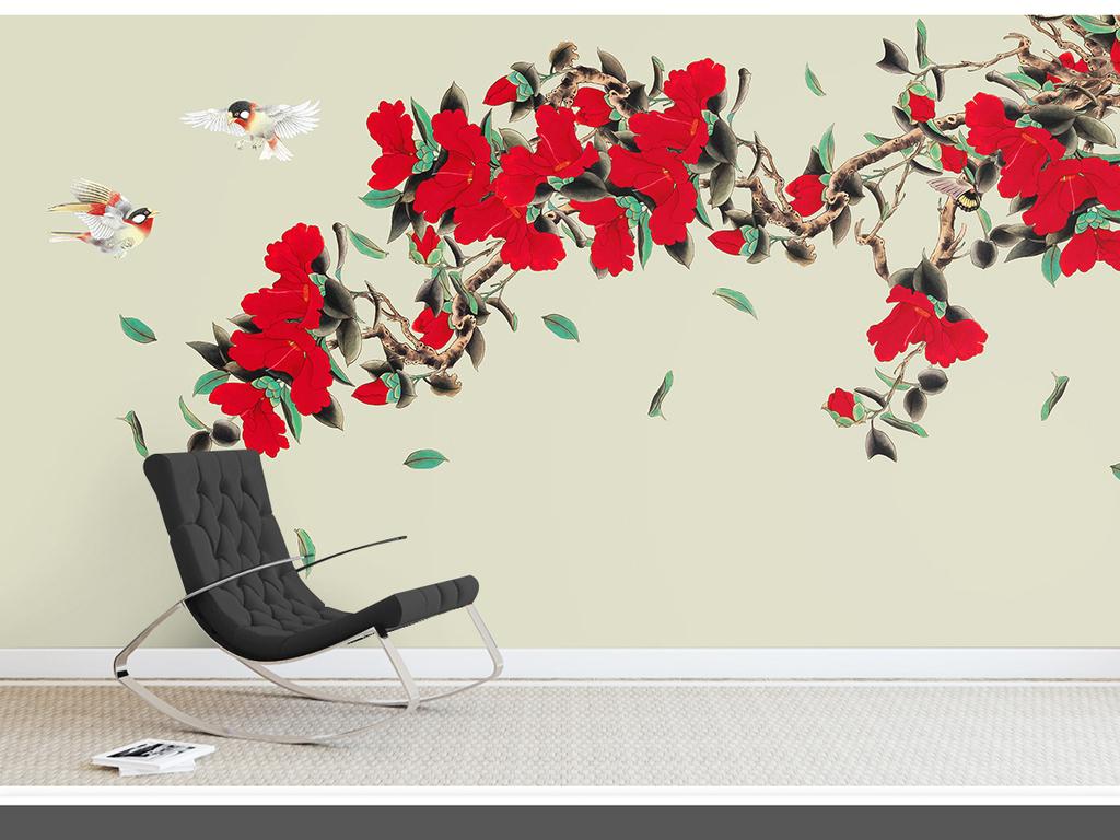朱槿手绘工笔花鸟新中式背景墙装饰画图片