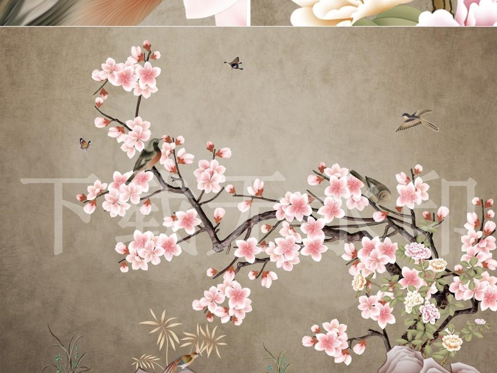 中国风工笔花鸟手绘海棠花背景墙