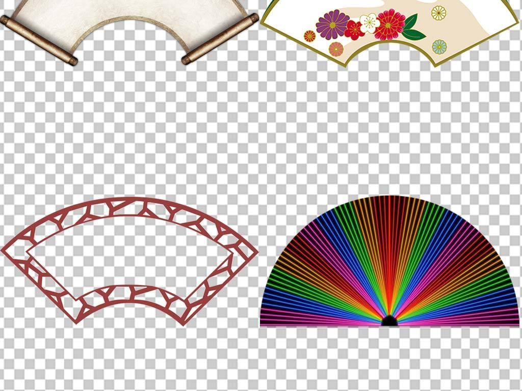 中国风古典文化墙扇形边框PNG素材