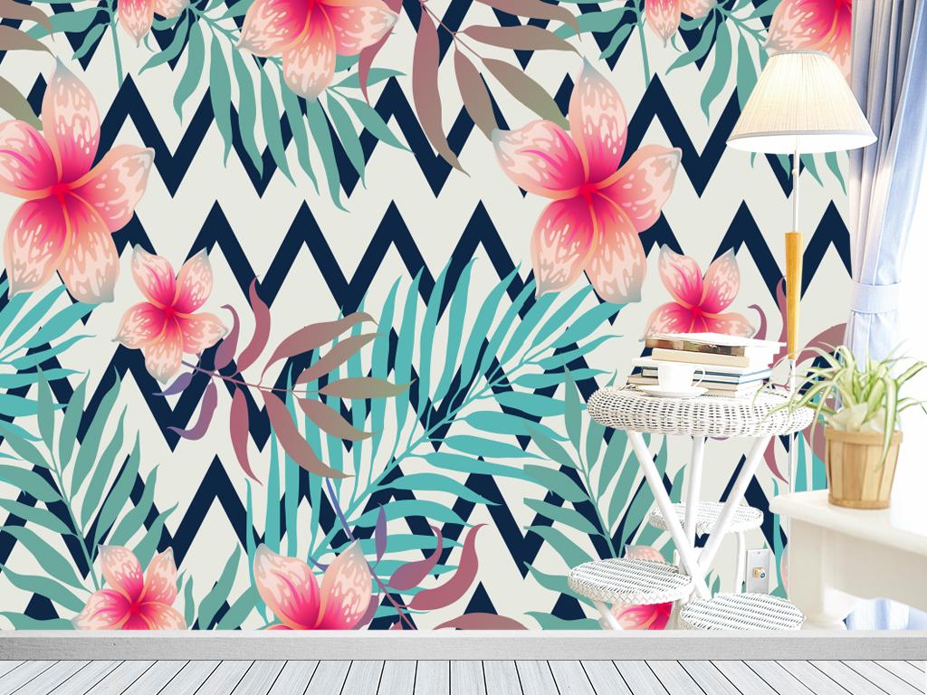 背景墙|装饰画 电视背景墙 手绘电视背景墙 > 北欧个性抽象芭蕉叶花卉