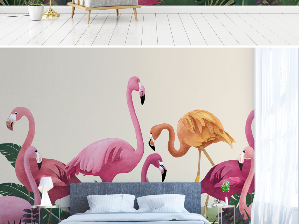 简约手绘龟背竹芭蕉叶火烈鸟艺术北欧背景墙