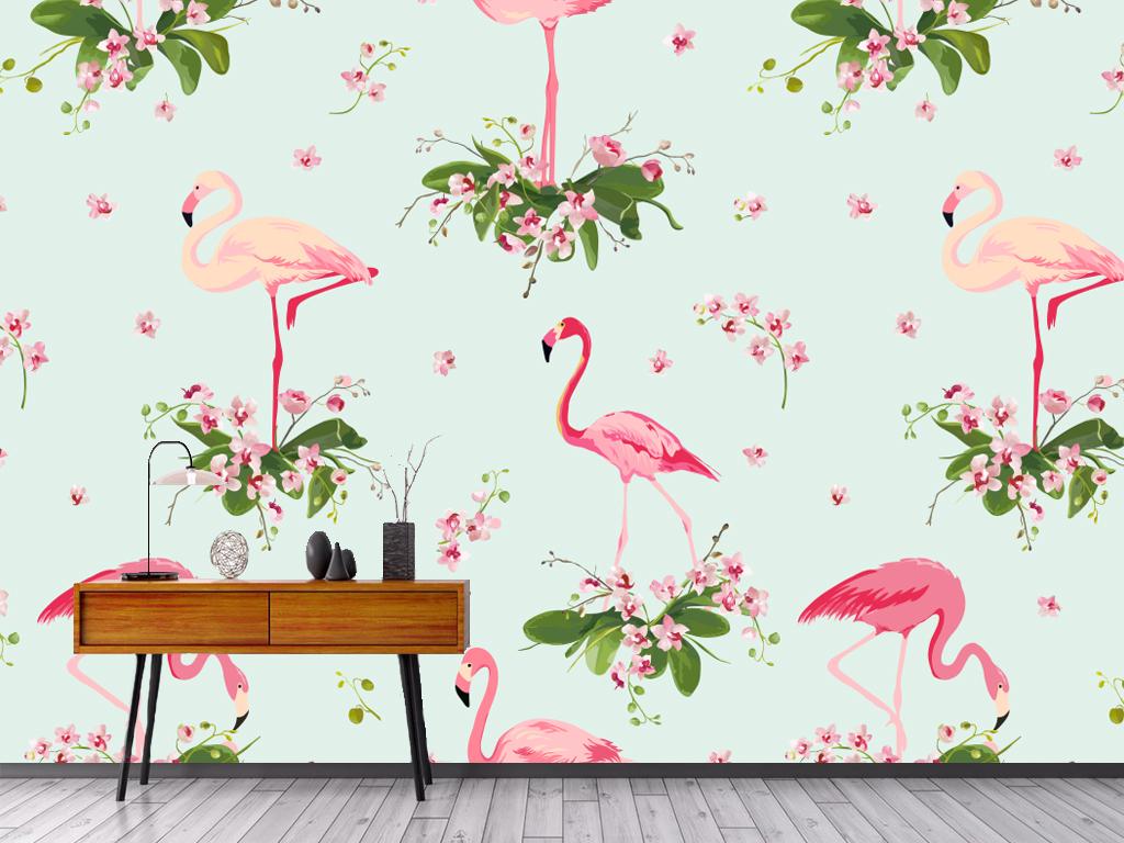 电视背景墙 手绘电视背景墙 > 北欧抽象火烈鸟芭蕉叶背景墙(含ai分层)