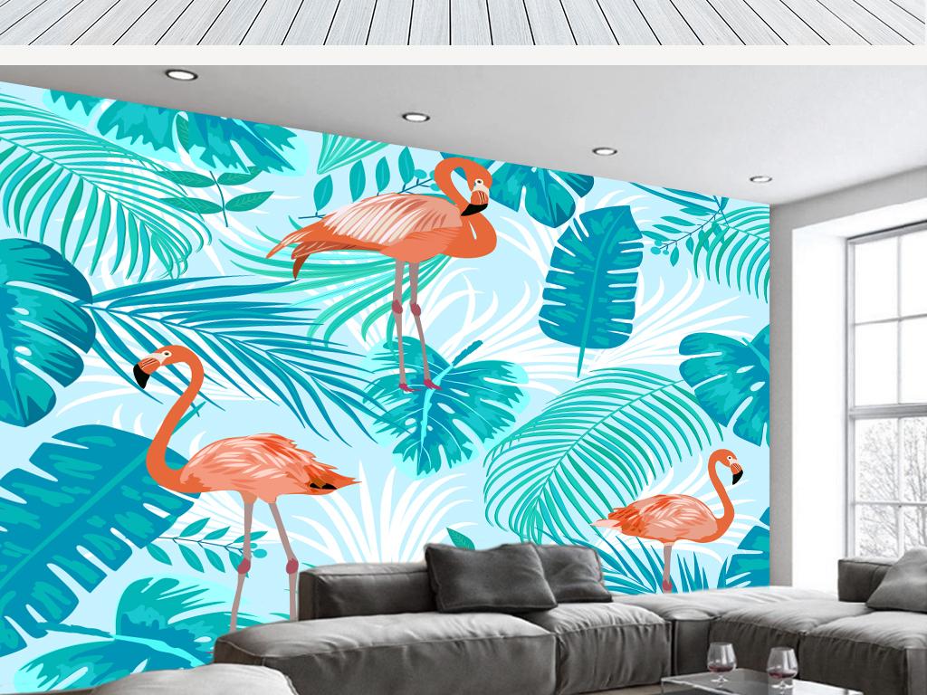 背景墙 电视背景墙 手绘电视背景墙 > 北欧抽象火烈鸟芭蕉叶背景墙(含