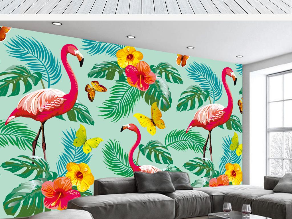 电视背景墙 手绘电视背景墙 > 北欧抽象火烈鸟芭蕉叶花卉壁画背景墙