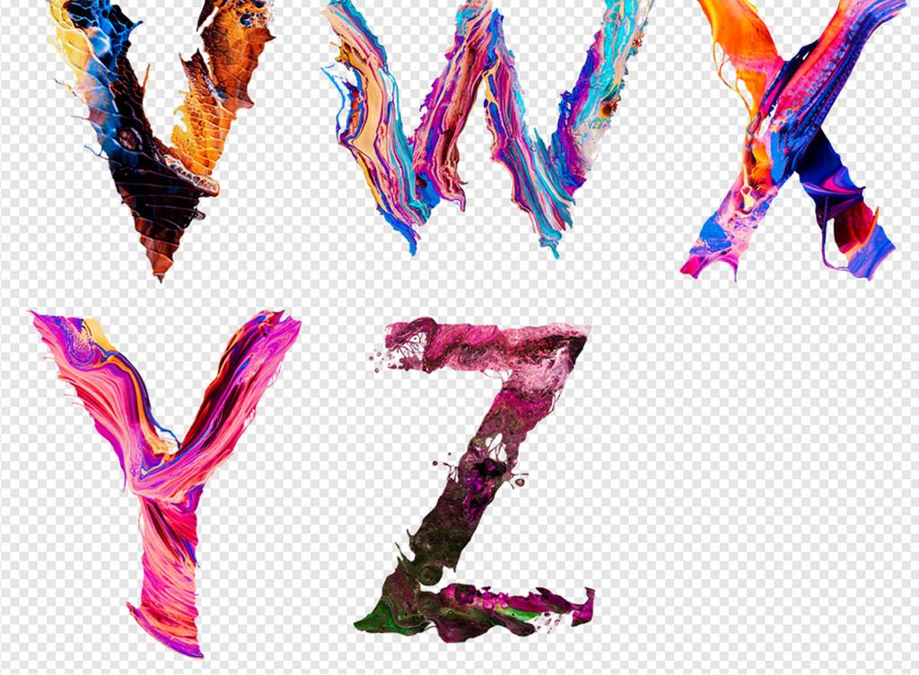 艺术创意抽象炫彩英文字母图案设计素材图片
