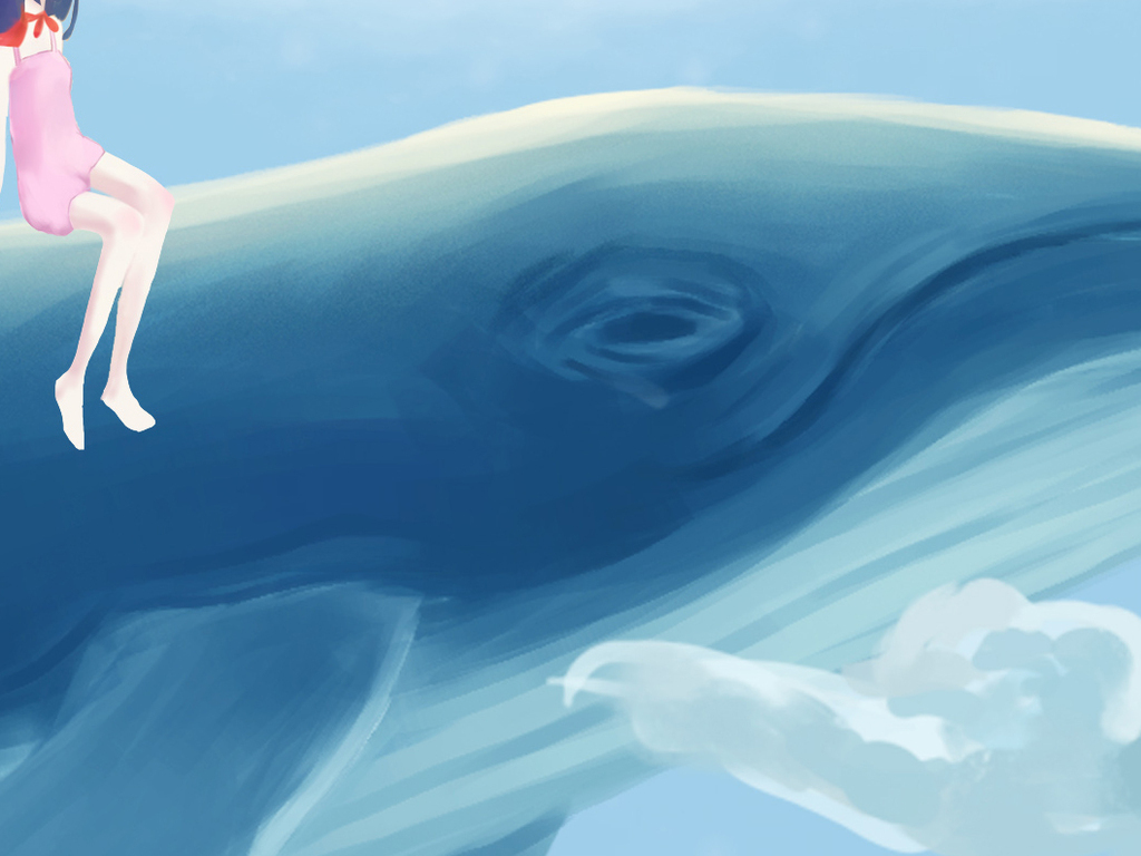 手绘水彩创意天空鲸鱼儿童房间壁画背景墙