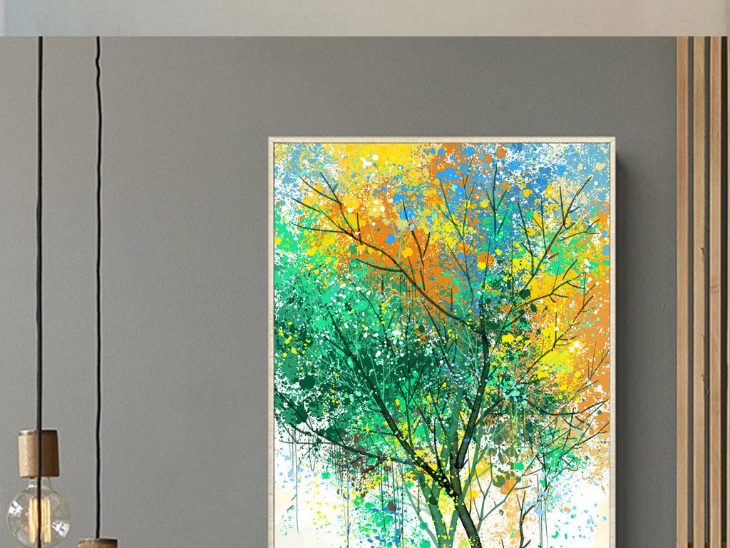 手绘发财树生命树油画玄关装饰画