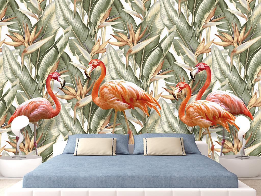 电视背景墙 田园背景墙 > 手绘绿叶阔叶棕榈叶热带雨林植物火烈鸟壁纸