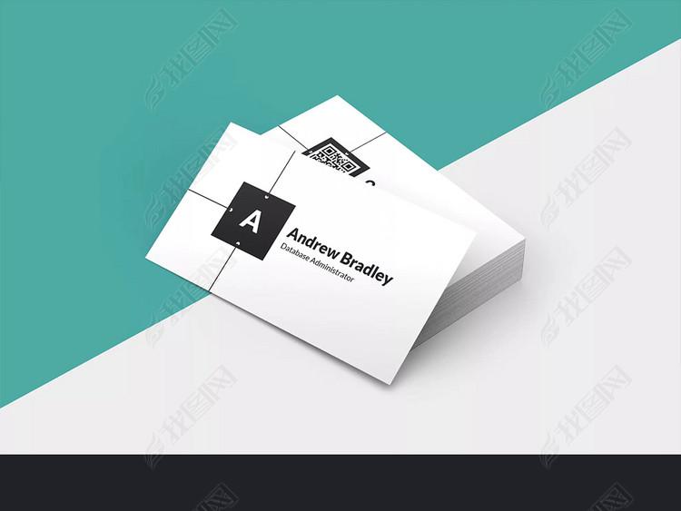 黑色不对称风格时尚二维码扫码名片设计模板